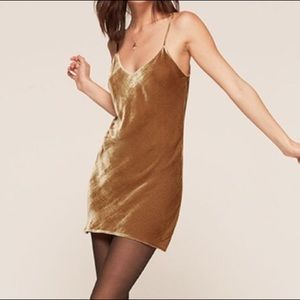 Reformation Gold Velvet slip dress